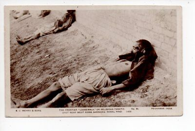 Unusual postcard of the Religious Fanatic Shot Rawal Pindi, India