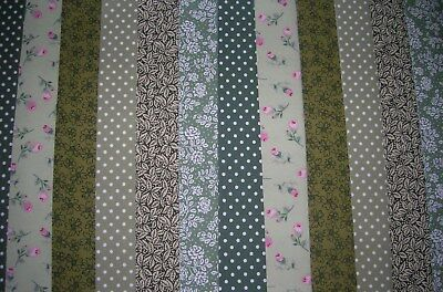 """**clearance**12 Jelly Roll Strips Green  44"""" X 2.5""""  100% Cotton Patchwork Jgr"""