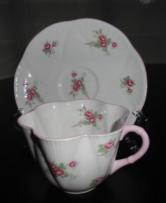 Shelley Pink Rose Bud Tea Cup And Saucer Made In England
