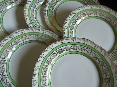 Vintage Salisbury china pretty green & gold Side plates x 6 lovely