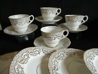Vintage English china white & gold Trios x 2 Tea cups Saucers plates lovely
