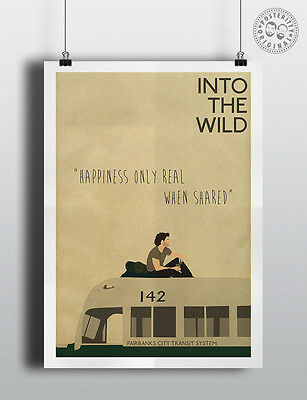 Into The Wild Minimalist Movie Happiness Real Quote Poster Minimal
