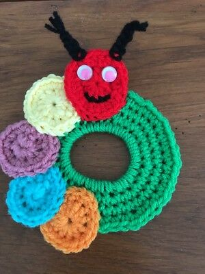 Camera Lens Buddy Fun Caterpillar  Hand Crocheted