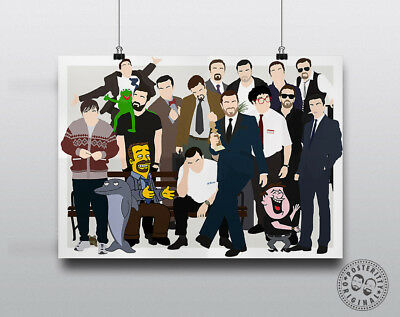 RICKY GERVAIS Minimalist Characters Poster Posteritty Print Brent Derek Pincus