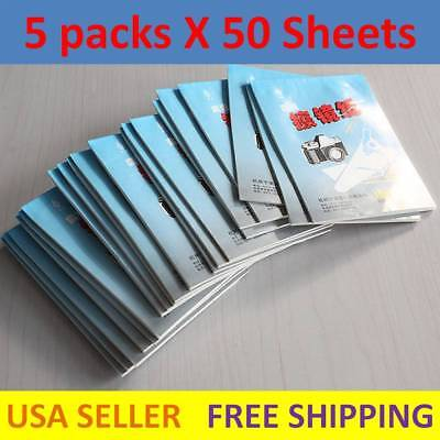 5X 50 Sheets Soft Camera Lens Optics Tissue Cleaning Paper Wipes Booklet A+