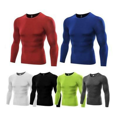 Compression Mens Long Sleeves Top Shirt Base Layer Thermal Sport Gym Cycling one
