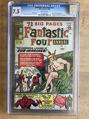 Fantastic Four Annual 1 Key Marvel 1963 CGC 7.5 Off White Pages Early Spider-Man