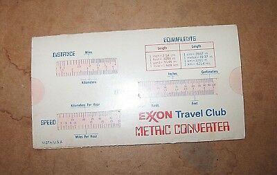 Vintage 60s 70s EXXON Tavel Club Metric Converter Conversion Slide Chart