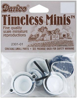 Timeless Minis - Pots and Pans with Lids - Blue - Assorted Sizes - 8 Pieces