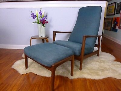 Folke Ohlsson for DUX Rocking Recliner with Ottoman Danish Modern Walnut Lounge