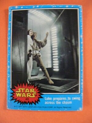 Star Wars. Topps Card. 1977. No.43. Luke Prepares To Swing Across The Chasm.