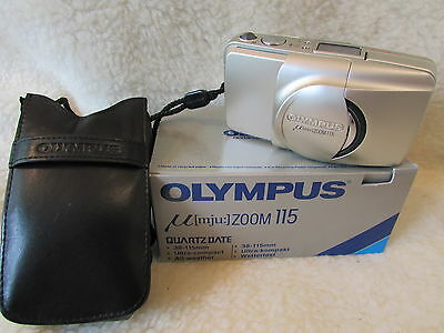 Olympus Mju 115 35mm Compact Camera 38 115 zoom stunning camera black plus case