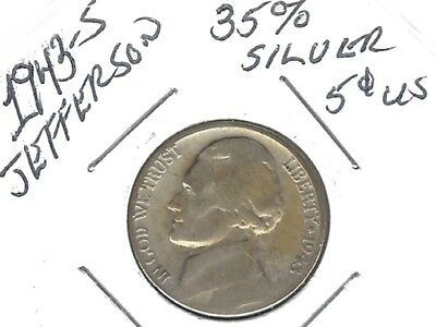 US 1943-S Jefferson Nickel 35% Silver.....Nice Coin !!!
