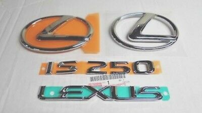 GENUINE LEXUS IS250 EMBLEM FRONT /& REAR CHROME COMPLETE BADGE LETTER SET