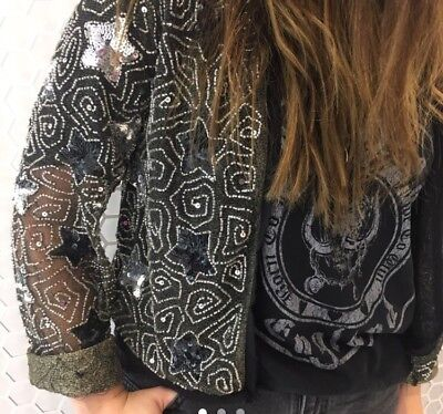 NEW BNWT TOPSHOP Black And Silver Sequin Embellished Beaded Star Jacket UK 8