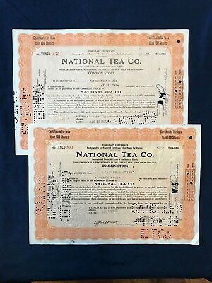 National Tea Company 1929 Stock Certificate Lot (2)