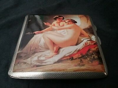 Sterling Silver Nude Lady Lesbian Cigarette Case
