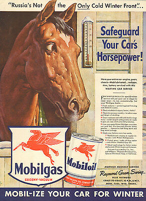 1942 WW2 era AD MOBILGAS MOBILOIL Wartime Car Service ART Horse Winter 111816