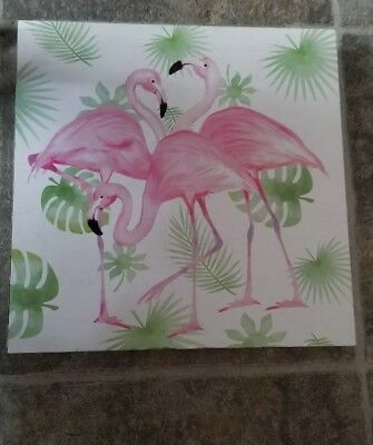 Pink Flamingo Sign Coastal Beach Wood Tropical Home Decor 8 X 8