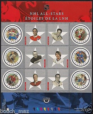 Canada Stamps — Full Pane of 6 — 2001, NHL All Stars — #1885 — MNH