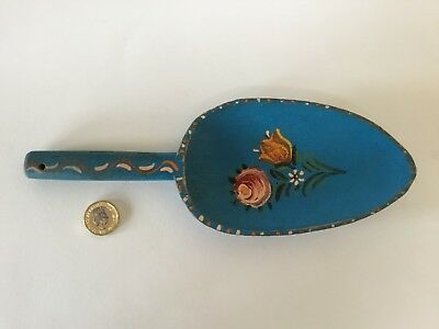 Vintage Scandinavian Norway Rosemaling Blue Painted Wooden Trowel Scoop Folk Art
