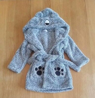 Toddler Baby Dressing Gown Grey Teddy Bear 18-24 Months Boy Girl Fluffy Hooded