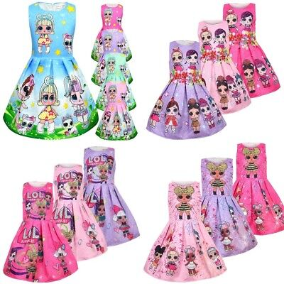 New Lol Surprise Doll Cute Kids Girls Sleeveless Party Holiday Birthday Dress