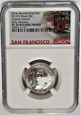 2018-S Silver 25C Apostle Islands Quarter NGC PF70 REVERSE PROOF Cable Car Label