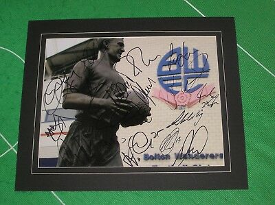 Bolton Wanderers FC Mounted Statue Photo Signed x 17 2016/17 1st Team Squad