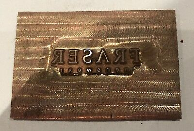 Vintage Copper Printing Block. Letter Press Plate. Fraser Menswear