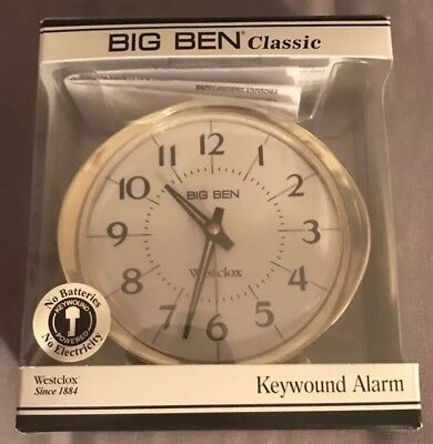 Authentic Westclox Brass Plated 10605 Big Ben Classic Keywound Alarm Clock
