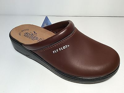 FLY FLOT 543 BROWN TDM Slippers Clogs Man Real Leather Made in Italy 28093