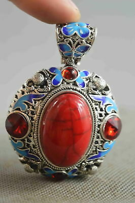 Decorate Collectable Miao Silver Carve Flower Inlay Colour Agate Woman Pendant