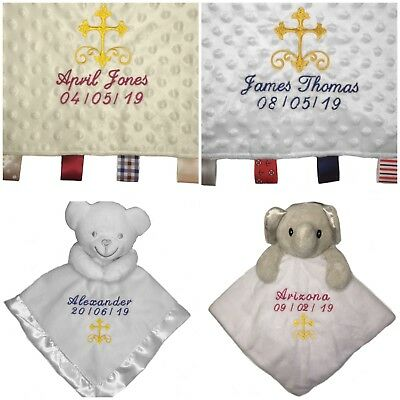 Personalised baby christening comforter security blanket gift tag cross white