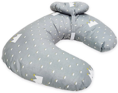 Miracle Baby Nursing Pillow 4 in 1 Breastfeeding Support Grey Crown