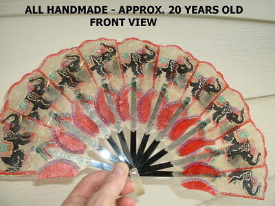 Vintage Used Leather Natural Vintage Elephant Thailand Blow Hand Fan Handmade