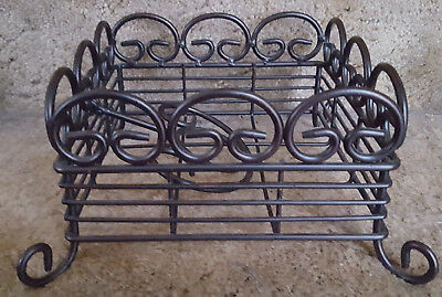 Square Wrought Iron Napkin Basket With Scroll Designs And Weight