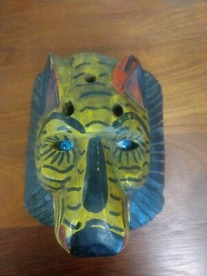 Old Mexican El Tigre mask hand carved and painted wood with glass eyes 8 by 8""