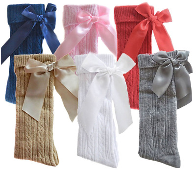 Baby BOW socks girl knee high cotton ribbed Spanish Romany ribbon