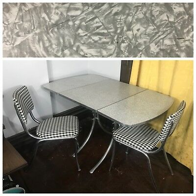 Vintage formica Grey Silver White Table Kitchen Two Chairs Plaid 50s 40s Folding