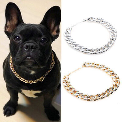 Gold Silver Pet Choker Chain Collar Necklace Fashion Small Cat Dog Bulldog Teddy