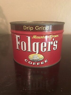 Vintage 1959 Key Wind Folgers Coffee Tin Can One Pound NOS Unopened