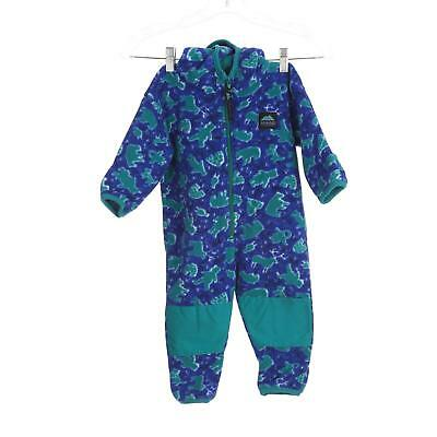 Molehill Bodysuit Coat Blue Green Animal Fleece Zip Hooded Baby 9-18 Months