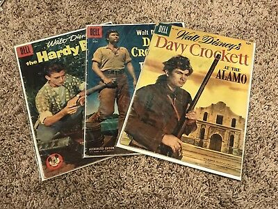 Walt Disney's Davy Crockett #639 & 664, + Hardy Boys #760 (Dell 1955)