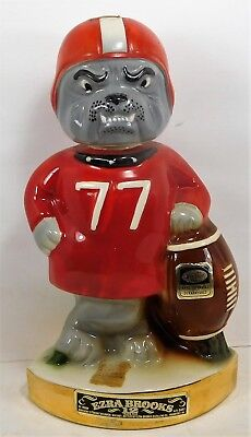 1971 Ezra Brooks Decanter  Georigia Bulldog Football Collectible Decanter
