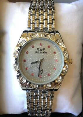 new H CANDICE women's WATCH silver w/ PINK crystals M CASINO SPA Las Vegas NIB