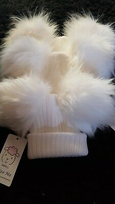 bf877902e49 Wee Me Gorgeous Baby Faux Raccoon Fur With Extra Large Pom Poms Hat White