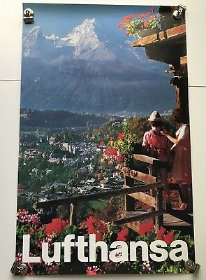 Vtg Lufthansa Photo Travel Poster Switzerland Swiss Alps Airline Airplane Alpine