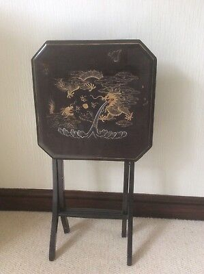 Vintage Antique Chinese Painted Wooden Folding Table