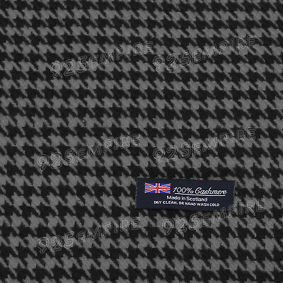 Men's 100% CASHMERE Black/Gray Houndstooth Winter Scarf